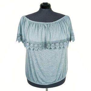 NWT Paper + Tee Blue Gray Lace Off Shoulder Blouse